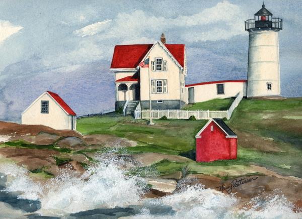 Cape Neddic Lighthouse  Print by Nancy Patterson