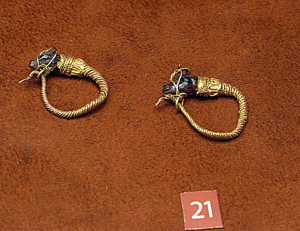 Caprine-head Earrings Print by Andonis Katanos