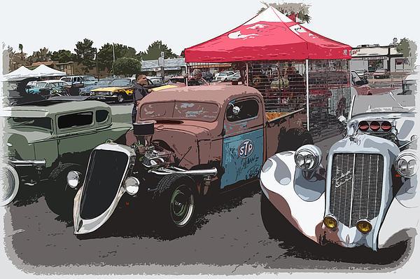 Car Show Hot Rods Print by Steve McKinzie