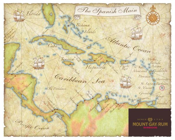 Caribbean Map II Print by Unknown