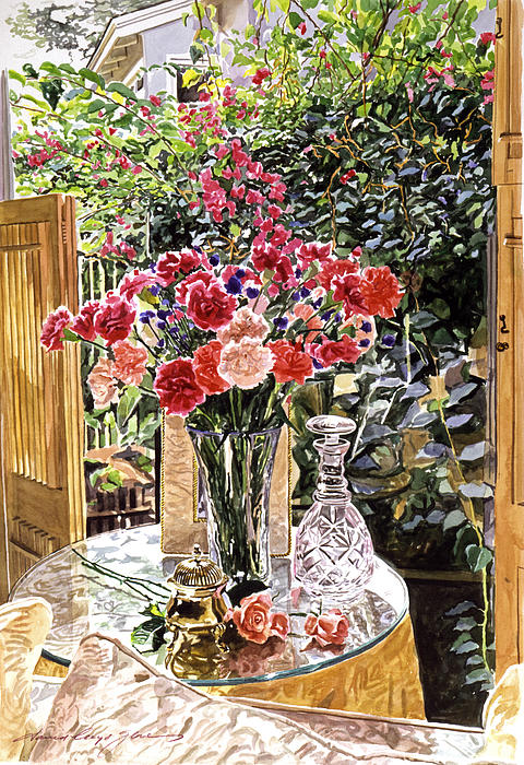 Carnations In The Window Print by David Lloyd Glover