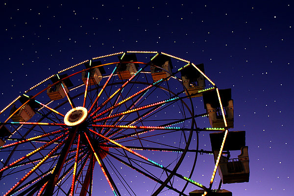 Carnival Ferris Wheel Against Starry Night Sky Print by Heather Cate Photography