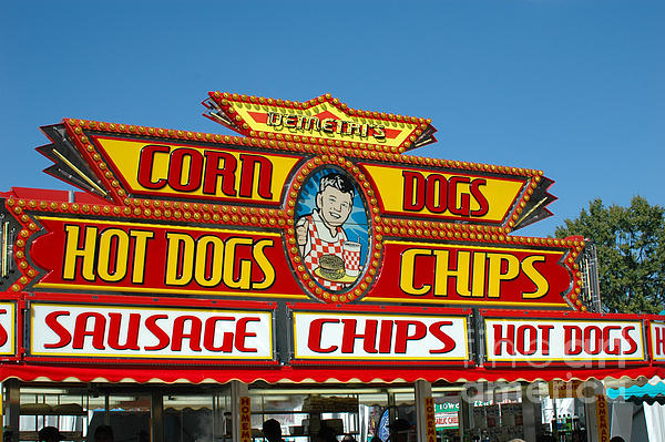 Carnival Festival Fun Fair Hot Dog Stand Print by Kathy Fornal