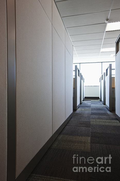 Carpeted Hall With Office Cubicles Print by Jetta Productions, Inc