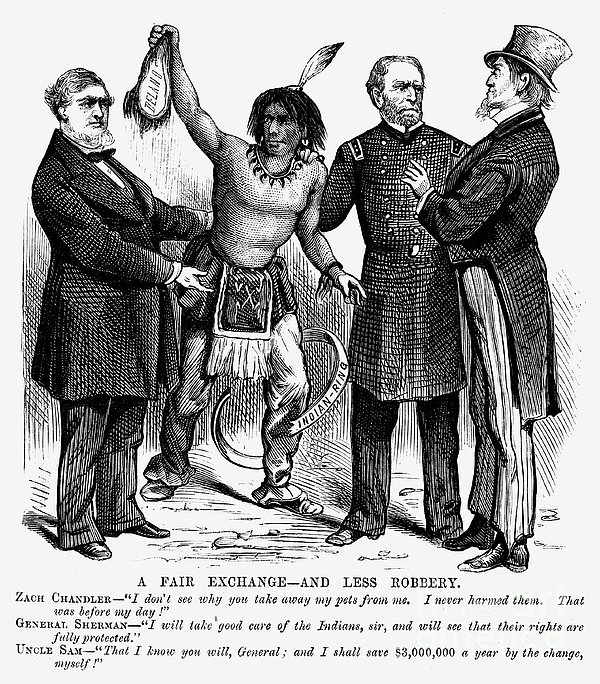 Cartoon: Native Americans, 1876 Print by Granger