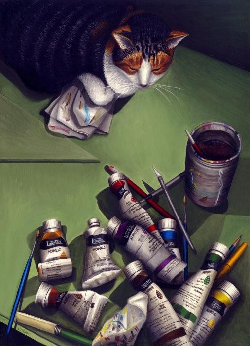 Cat And Paint Tubes Print by Carol Wilson