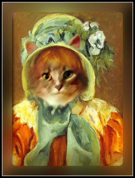 Cat In Bonnet Print by Gravityx Designs