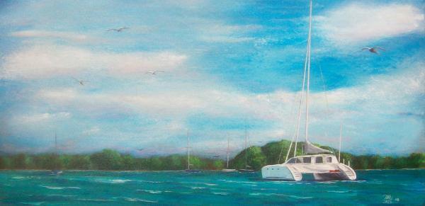 Catamaran In Salinas Harbor Print by Tony Rodriguez