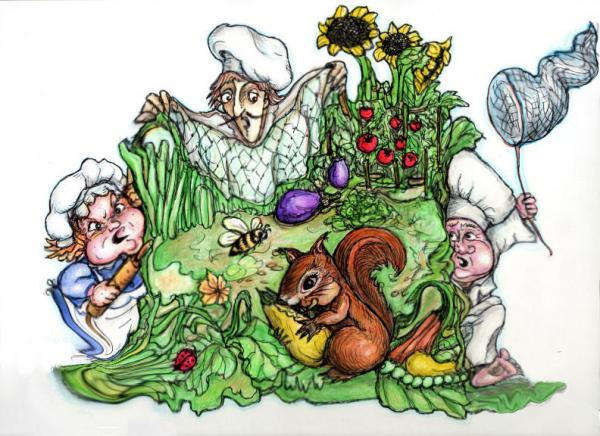 Catch-a-squirrel Print by Rae Chichilnitsky