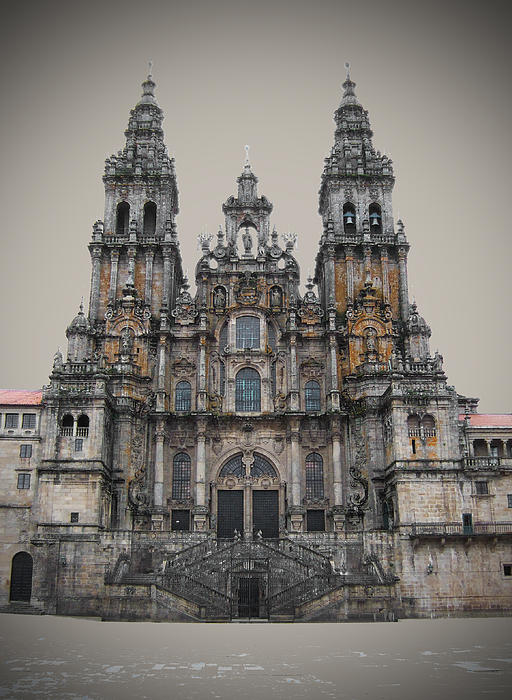 Cathedral Of Santiago De Compostela Print by Jasna Buncic