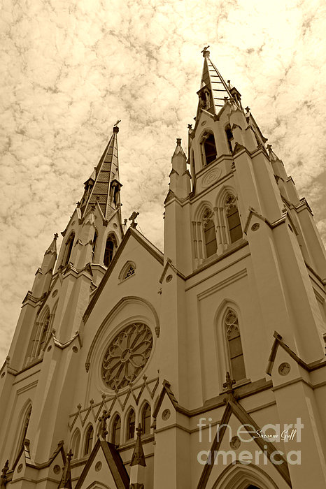 Cathedral Of St John The Baptist In Sepia Print by Suzanne Gaff