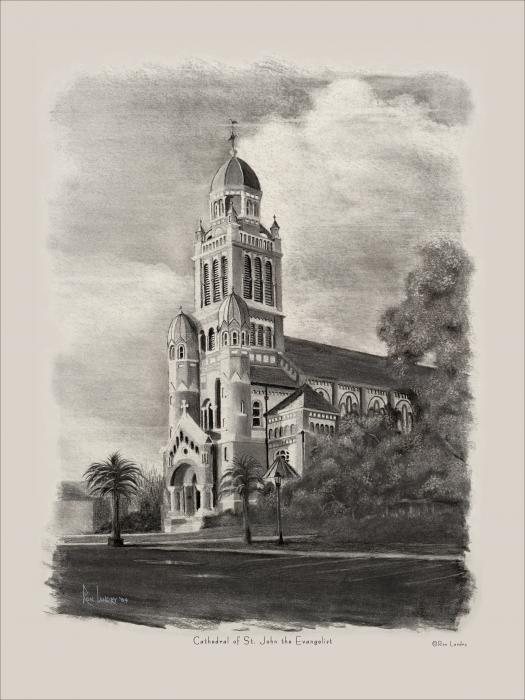 Cathedral Of St John The Evangelist Drawing  - Cathedral Of St John The Evangelist Fine Art Print