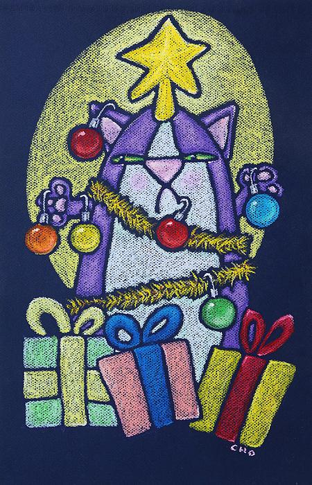 Catmas Tree Print by wendy CHO