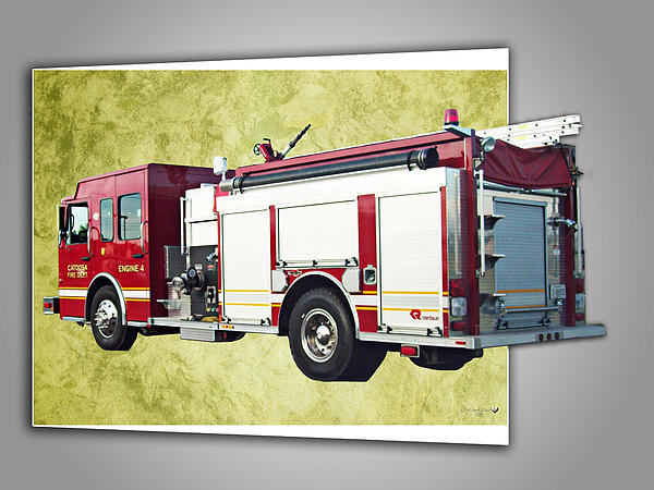 Catoosa Fire Engine 4 Print by Linda Deal