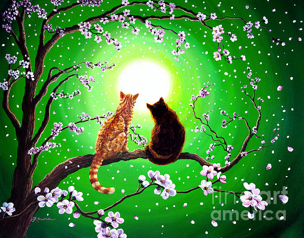 Cats On A Spring Night Print by Laura Iverson
