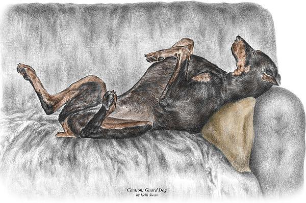 Caution Guard Dog - Doberman Pinscher Print Color Tinted Print by Kelli Swan