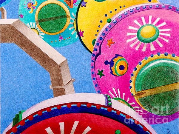 Celestial Ferris Wheel Print by Glenda Zuckerman
