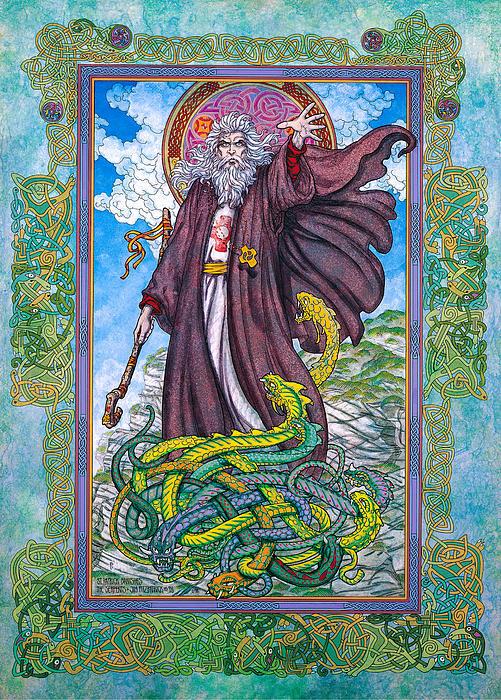 Celtic Irish Christian Art - St. Patrick Print by Jim FitzPatrick