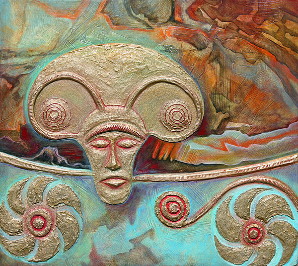 Celtic Warrior Ritual Mask Print by Zoran Peshich
