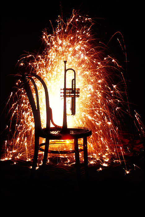 Chair And Horn With Fireworks Print by Garry Gay