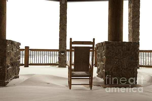 Chair On A Snowy Balcony Print by Will and Deni McIntyre