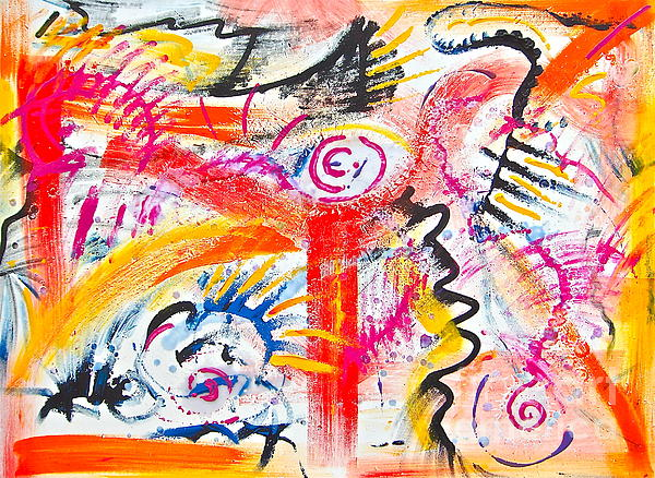 Christine Chase Cooper - Chaotic Orange Abstract