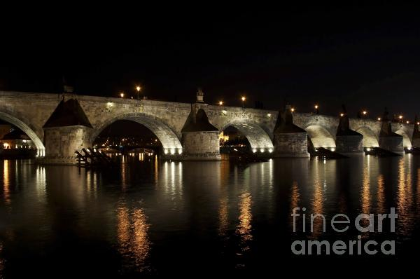 Charles Bridge At Night Print by Michal Boubin