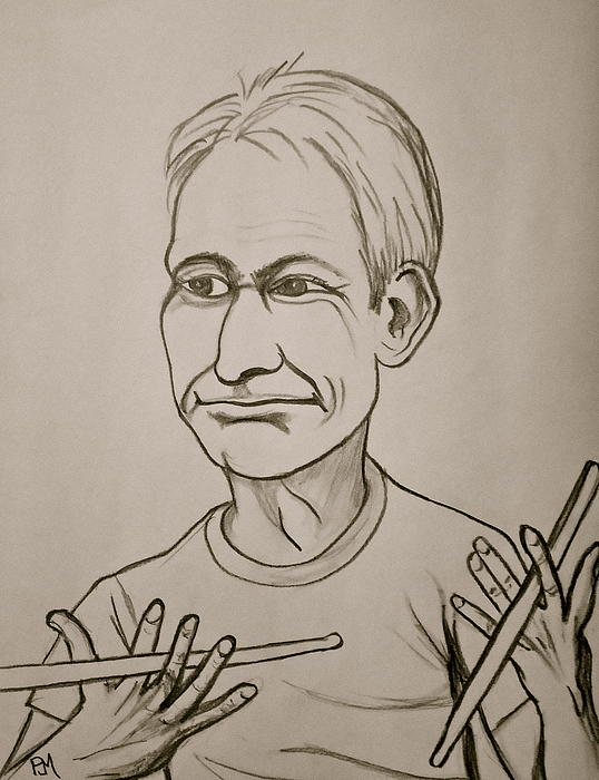 Charlie Watts Print by Pete Maier