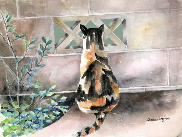 Checking Out The Neighbors Backyard Print by Arline Wagner