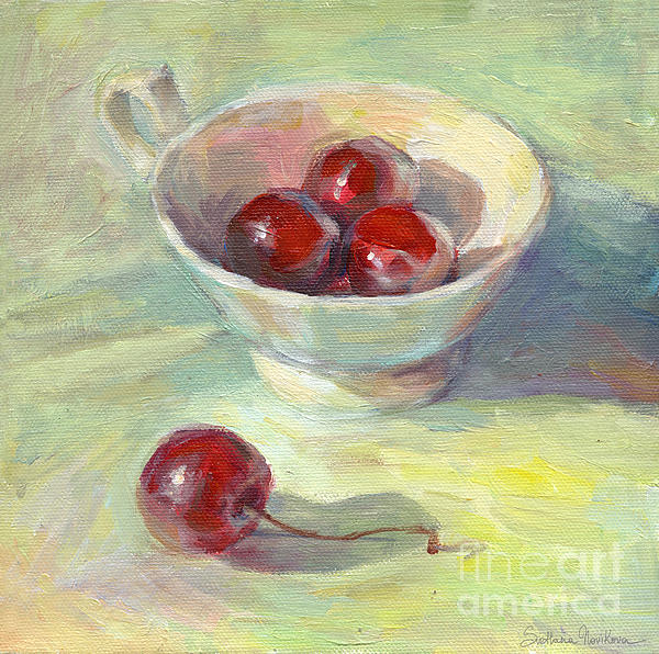 Cherries In A Cup On A Sunny Day Painting Print by Svetlana Novikova