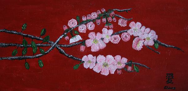 Cherry Blossom Trio Print by Lorraine Adams