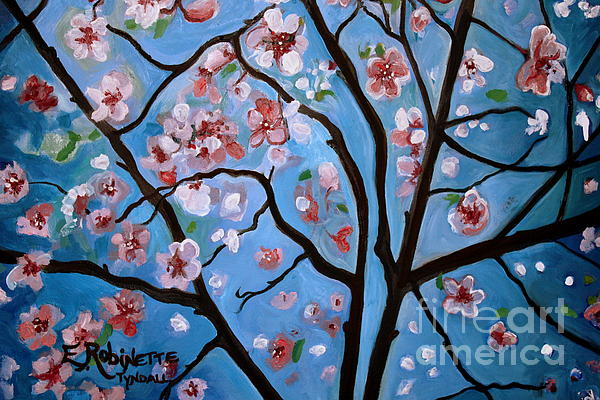 Cherry Blossoms In Bloom Print by Elizabeth Robinette Tyndall