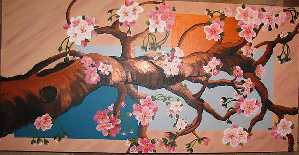 Cherry Blossoms Print by Sylvia Wanty