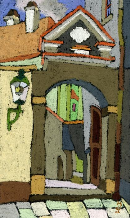 Chesky Krumlov Old Street Latran  Print by Yuriy  Shevchuk