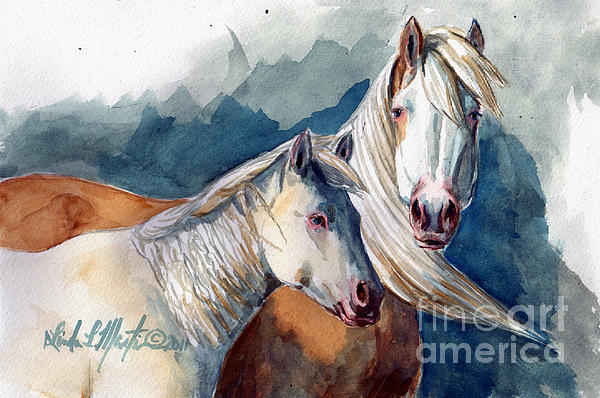 Cheyenne And Tripod Print by Linda L Martin