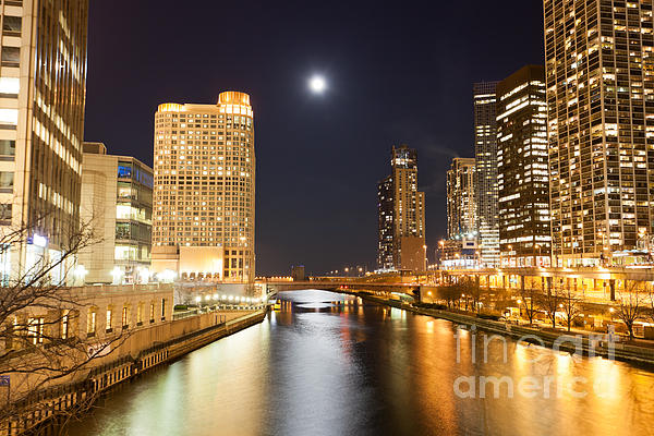 Chicago At Night At Columbus Drive Bridge Print by Paul Velgos