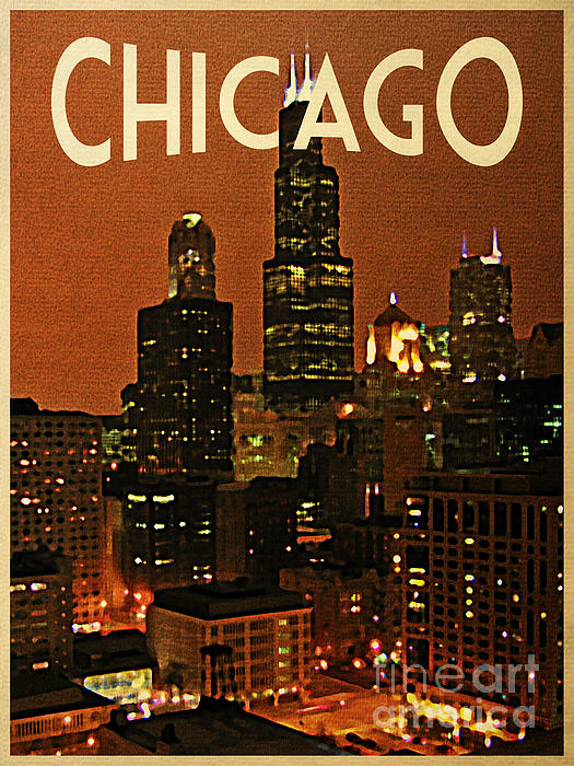 Chicago at night by flo karp for Vintage chicago posters