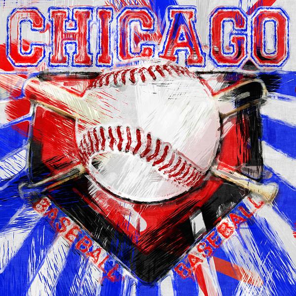Chicago Baseball Abstract Print by David G Paul