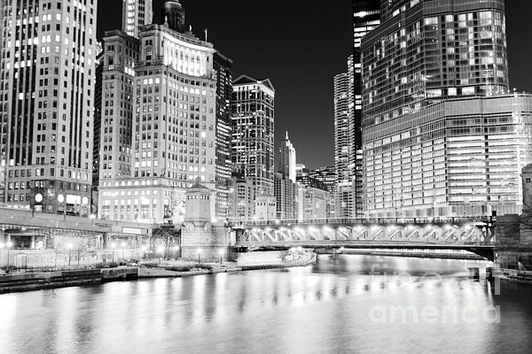 Chicago Cityscape At Night At Dusable Bridge Print by Paul Velgos