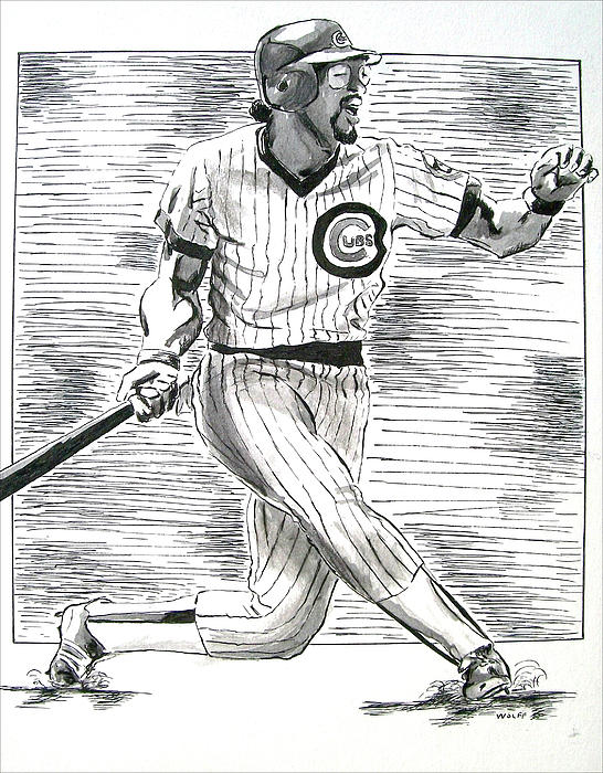 Chicago Cub Leon Durham Print by Vincent Wolff