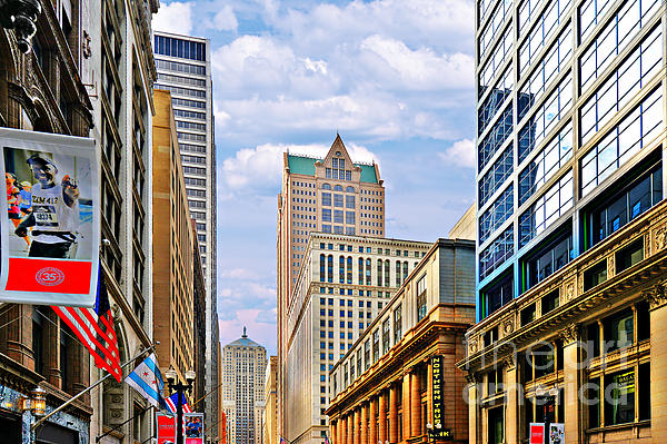 Chicago - Looking South From Lasalle Street Print by Christine Till