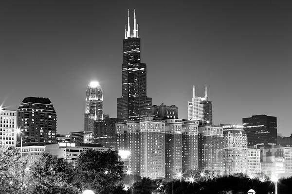 Chicago Night Skyline In Black And White Print by Paul Velgos