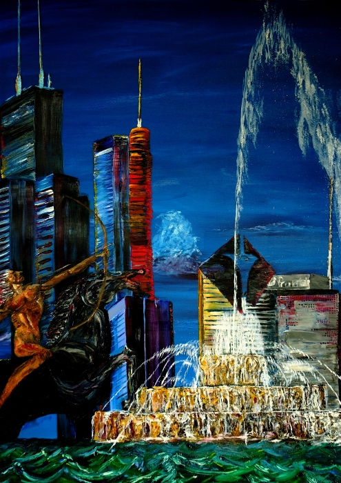 Chicago Skyline Buckingham Fountain Sears Tower Trump Tower Aon Building Print by Chicago Oil Paintings By Gregory A Page
