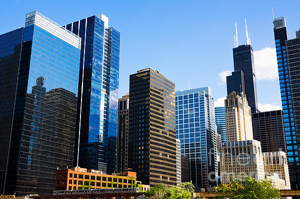 Chicago Skyline Downtown City Buildings Print by Paul Velgos