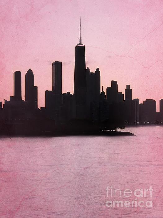 Chicago Skyline In Pink Print by Sophie Vigneault