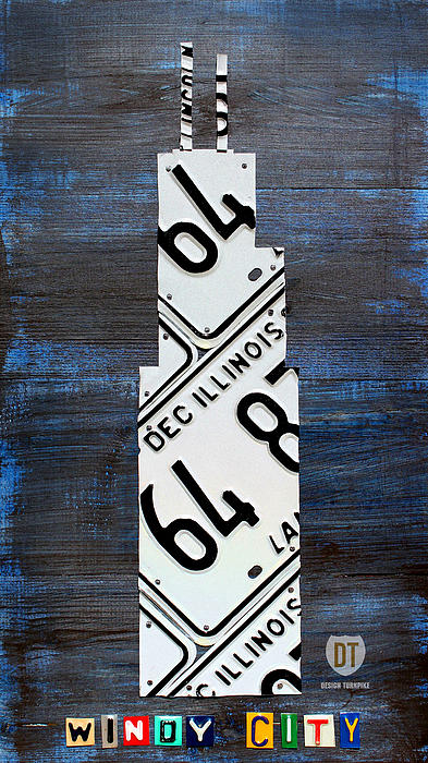Chicago Windy City Harris Sears Tower License Plate Art Print by Design Turnpike