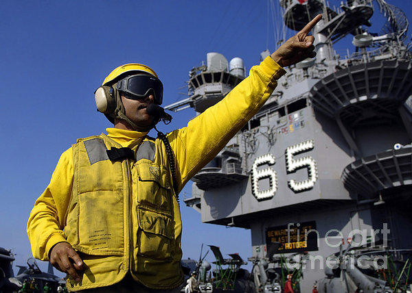 Chief Aviation Boatswains Mate Directs Print by Stocktrek Images