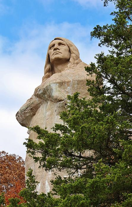 Chief Blackhawk Statue Print by Bruce Bley