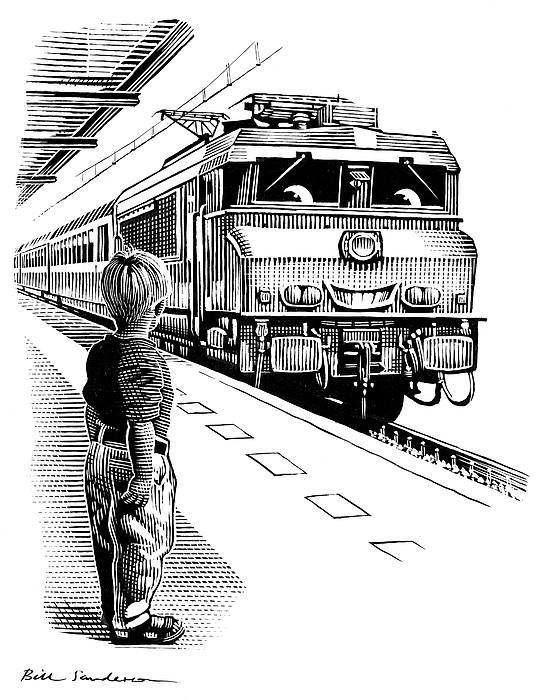 Child Train Safety, Artwork Print by Bill Sanderson