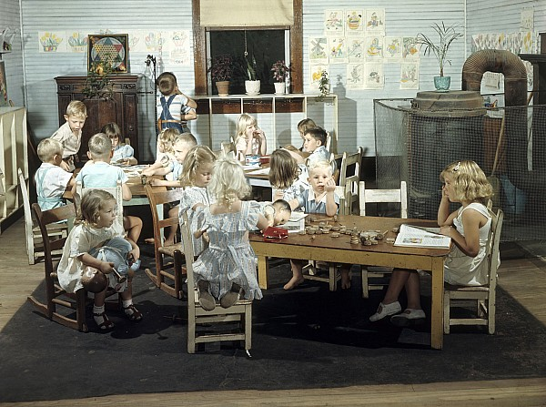 Children Play In A Day Nursery Print by J. Baylor Roberts